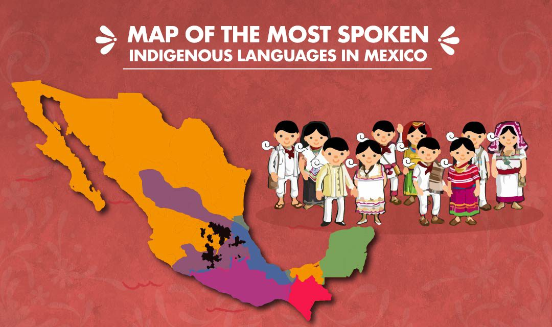 Map of the most spoken indigenous languages in Mexico